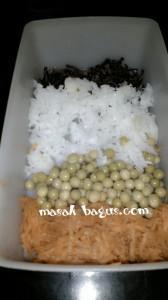 jamur, kacang polong, wortel