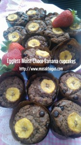 Eggless Moist Choco Banana Cupcakes